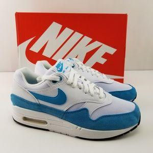 Nike Air Max 1 White Blue Running Shoes